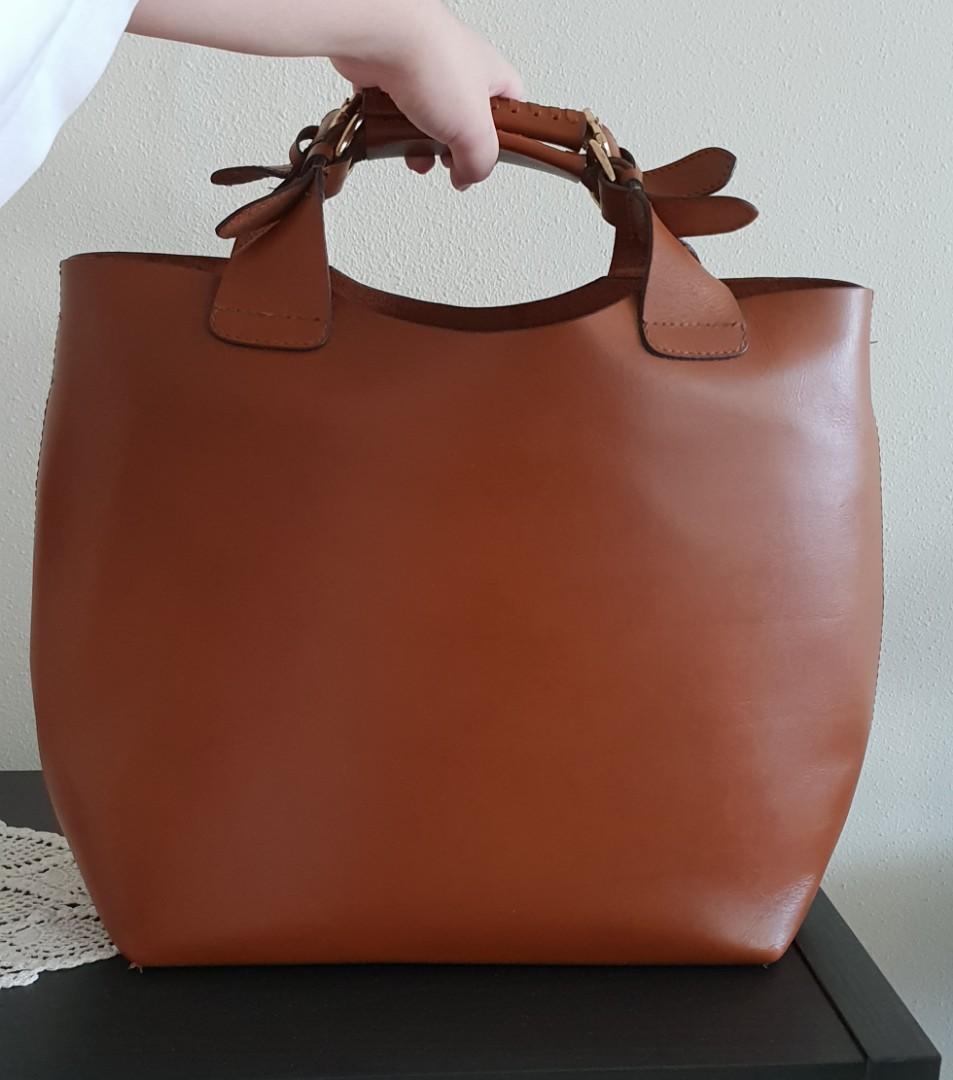 c254b6dfd1a Zara tan plaited shopper tote bag, Women's Fashion, Bags & Wallets ...