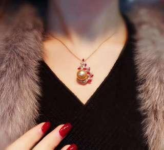 18K金南洋金色珍珠鑽石紅寶石吊墜South sea golden pearl dia Ruby pendant