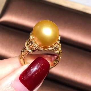18K金南洋金色珍珠鑽石戒指 South sea golden pearl dia ring