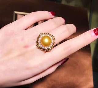 18K金南洋金色珍珠鑽石戒指 附證書 South sea golden pearl dia ring