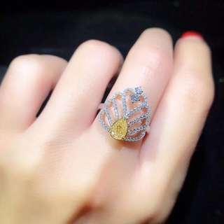 18K金天然黃色鑽石戒指 附證書 Natural yellow diamond ring