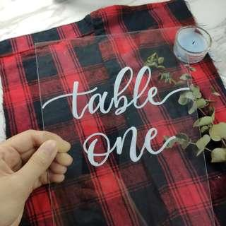 Wedding Table Numbers | Wedding Acrylic | Calligraphy | Acrylic