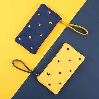 Star embroidered pencil pouch ~ nylon