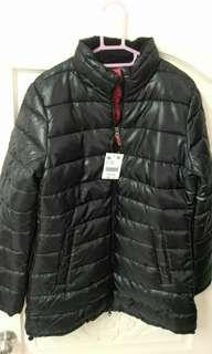 佐丹奴 Giordano 超暖 長版 羽絨大衣 外套 XL 經典黑