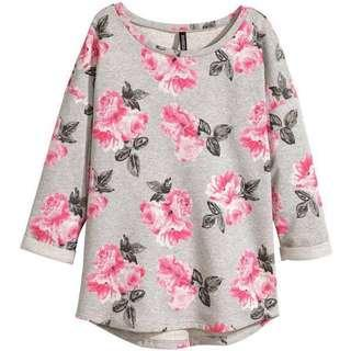 H&M Grey Floral Pullover Long Sleeve Top