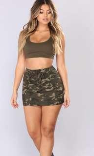 BN fashion nova camo mini skirt
