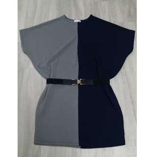 🚚 [Instock] Plus Size Dress Tunic Top Duo Colour Grey/Black (BNIP)
