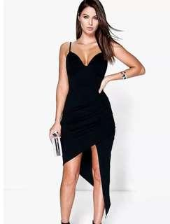 Boohoo Wrap Asymmetrical Bodycon Dress