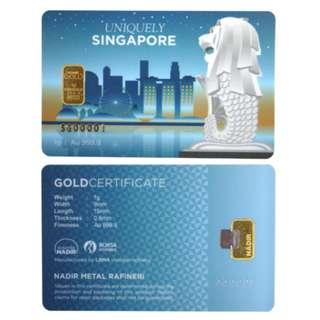 Nadir Metal Rafineri Uniquely Singapore Merlion 1g Gold Bar