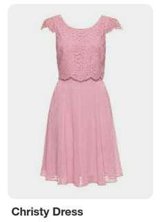 Review dress. Sz 10. Pink lace wedding