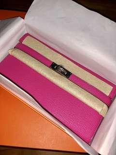 BNIB Hermes Kelly long Wallet Rose Tyrien