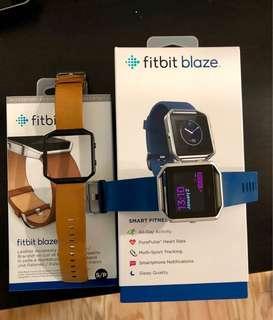 Blue fitbit blaze including free leather strap