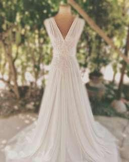 Infinity White Gown with detachable embroidery for Prenup