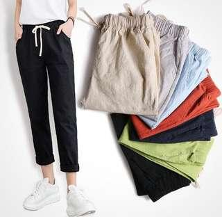 (4Col) Plain Simple Basic Drawstring Sweatpants Pants