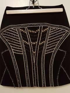 NWOT Beaded/embellished black mini skirt