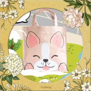 Elisa Litz Lunch Bag waterproof and crease free light pink pastel sweet square kitchen meal food storage carry on casual daily dog design