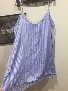 Zara Cami Pinstriped blue and white with white lace