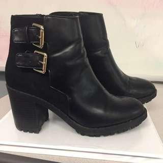 Leather & Suede Zara Ankle Booties