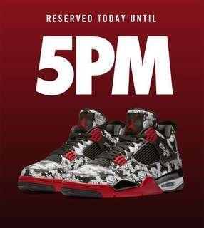 Men's Air Jordan IV TATTOO|EXCLUSIVE ACCESS| Reservation ending 9am Dec28,2018