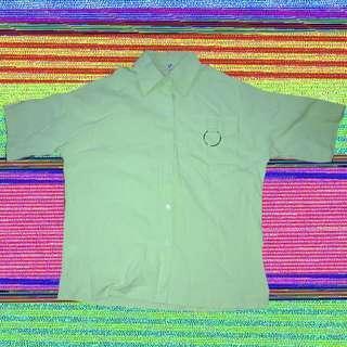 🚚 綠色五分袖胸前圓環襯衫👕