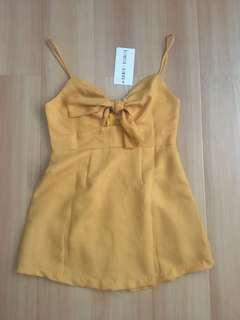 Mustard front tie dress