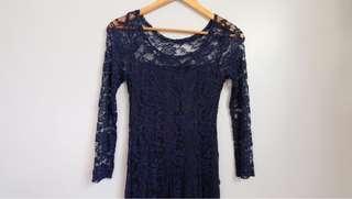 Dark Blue Laced Dress