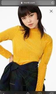 Monki velvet stripes top