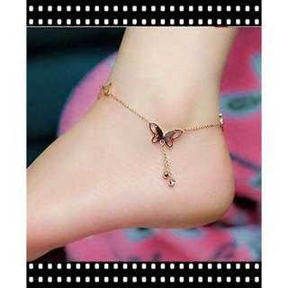 [PO] Butterfly Crystal Drop Dangling Anklet