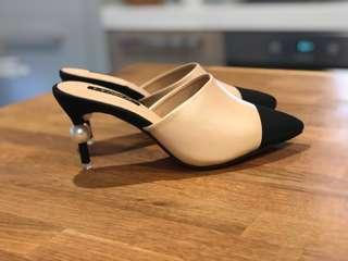 **Brand New** - Size 37 Natural and Black Pearled Heels