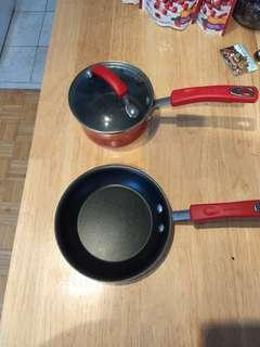 Red non-stick Rachael Ray pot and pan