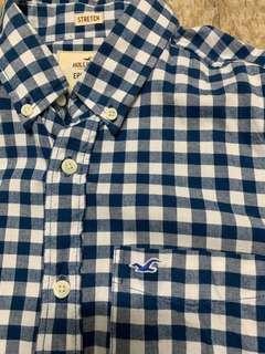 Hollister M size shirt 藍白格恤衫