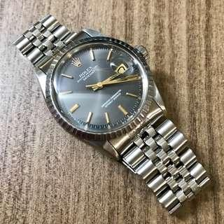 FS: Pre-owned Vintage Rolex 1603 Datejust Grey Gold Markers Dial with 62510/55 Bracelet