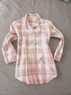 Uniqlo linen top check shirt pink