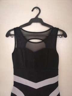 Black and white mesh dress