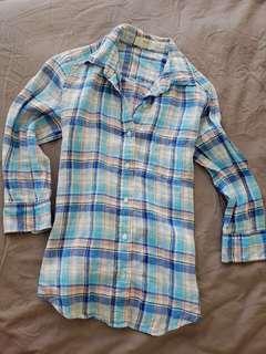 Uniqlo linen check top shirt blue