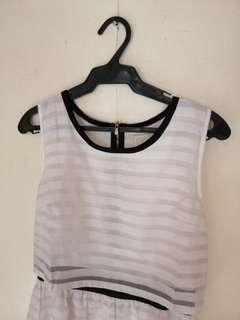 Striped white sheer dress