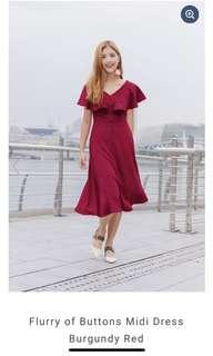 LeChic Flurry of Buttons Midi Dress Burgundy Red (L)