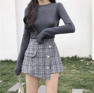 Checkered Button Korean skorts