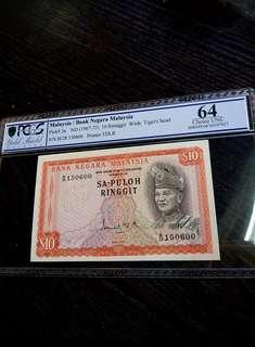 🇲🇾 Malaysia 1st Series SA-PULOH RM10 Banknote~PCGS 64 Choice UNC