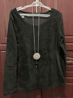 Black velvet pullover