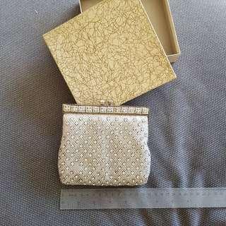 Crystal bead clutch bag