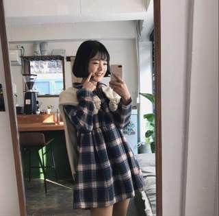 🚚 Dejou韓網格子襯衫洋裝