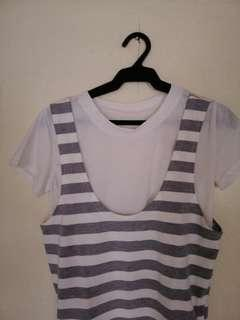 Striped dress with inner