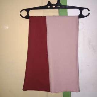 Pashmina warna dusty pink dan maroon