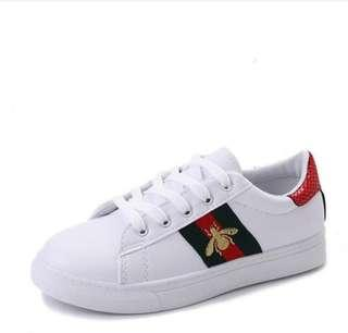 adfdeabc6 Gucci Ace Watersnake Trimmed Emboidered Leather Sneakers