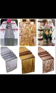 Sparkly Gold Sequin Table Cloth Runner Wedding Event Party Banquet Decor