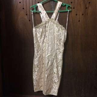 Preloved AUTHENTIC Jessica McClintock Gold Cocktail Dress