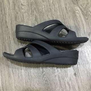 EUC Size W6 Women Crocs Black Wedges
