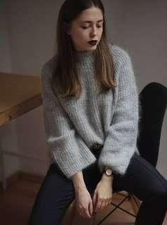 Oversized mohair grey soft fuzzy long sleeve bell sleeves high neck jumper