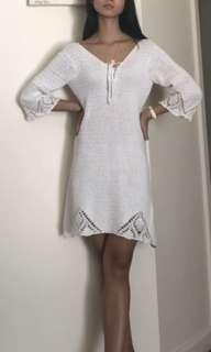 Minkpink white crochet knit dress